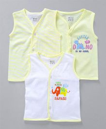 Ohms Sleeveless Vest Pack of 3 - Light Yellow & White