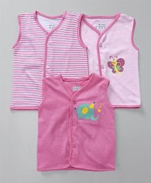 Ohms Sleeveless Vest Pack of 3 - Pink