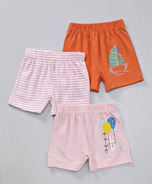 Ohms Shorts Pack of 3 Multi Print - Pink & Orange
