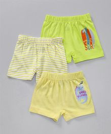 Ohms Shorts Pack of 3 Multi Print - Yellow & Green