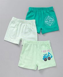 Ohms Printed Shorts Pack of 3 - Green