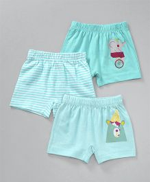 Ohms Shorts Pack of 3 Multi Printed - Sky Blue