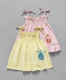 Ohms Singlet Cup Cake Printed Frock - Pink & Yellow