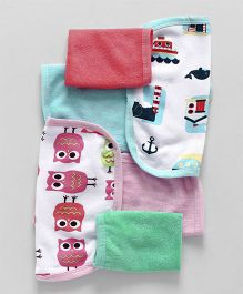 Ohms Hand And Face Printed Towel Pack of 6 - Multi Colours