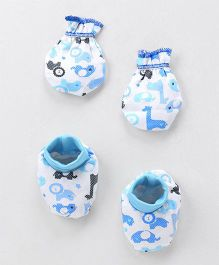 Ohms Booties And Mittens Animal Print - Blue & White