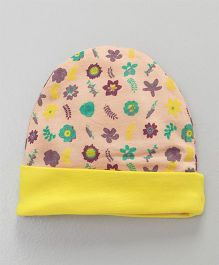 Ohms Round Cap Floral Print - Yellow & Peach