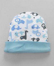 Ohms Round Cap Animal Print -  Blue & White
