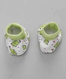 Ohms Booties Elephant Print - Green