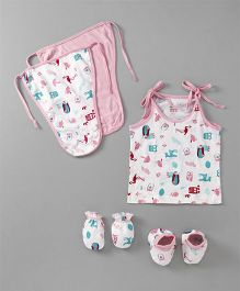 Ohms Clothing Set Animal Print Set of 7 - Pink & White
