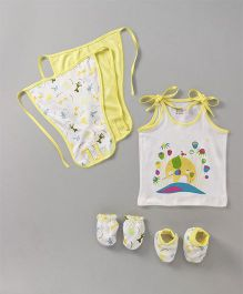 Ohms Clothing Set Animal Print Set of 7 - Yellow & White