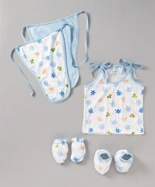 Ohms Clothing Set Puzzle Print Set of 7 - Blue & White