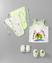 Ohms Clothing Set Elephant Print Set of 7 - Green & White