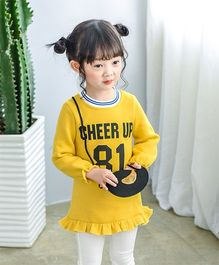Pre Order - Awabox Cheer Up Printed Warm Dress With Bag - Yellow