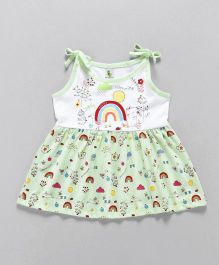 Cucumber Singlet Frock Multiprint - White Green