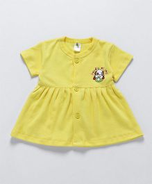 Cucumber Short Sleeves Frock Puppy Print - Yellow