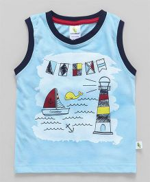 Cucumber Sleeveless Printed T-Shirt - Sky Blue