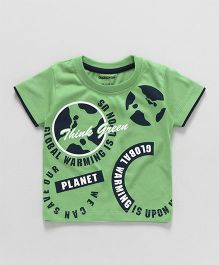 Cucumber Half Sleeves T-Shirt Global Warming Print - Green