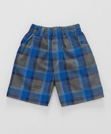 Cucumber Check Shorts - Blue Grey