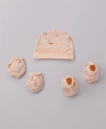 Cucumber Cap Mittens & Booties Set Animal Print - Cream