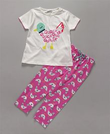Cucumber Half Sleeves Top And Pajama Hen Print - White Pink