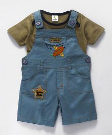 Cucumber Dungaree With T-Shirt Aeroplane Patch - Green Blue