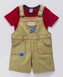 Cucumber Dungaree With T-Shirt Aeroplane Patch - Red & Beige