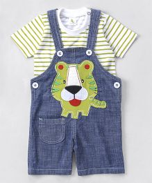 Cucumber Denim Dungaree With T-Shirt Tiger Patch - Blue & Green