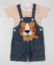 Cucumber Denim Dungaree With T-Shirt Tiger Patch - Blue & Orange