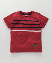 Cucumber Half Sleeves T-Shirt Stripe Print - Red