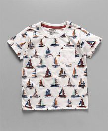Cucumber Half Sleeves T-Shirt Ship Print - White