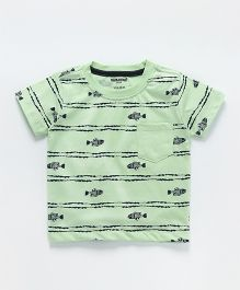 Cucumber Half Sleeves T-Shirt Fish Print - Green