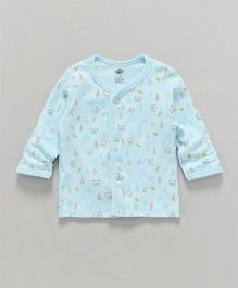 Zero Full Sleeves Vest Teddy Print - Sky Blue