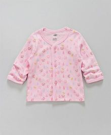 Zero Full Sleeves Vest Teddy Print - Pink