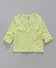 Zero Full Sleeves Vest Teddy Print - Green