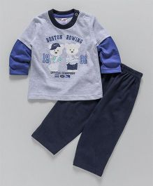 Zero Doctor Sleeves T-Shirt & Lounge Pant Teddy Print - Blue