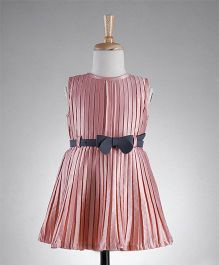 Bluebell Party Wear Sleeveless Pleated Dress - Peach