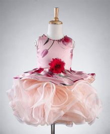 Bluebell Sleeveless Ruffled Party Wear Dress Floral Applique - Peach