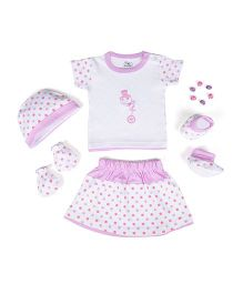 Beebop Girl's Apparel Gift Set Bee Print Purple & White - Pack of 5