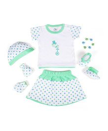 Beebop Girl's Apparel Gift Set Bee Print Sea Green  & White - Pack of 5