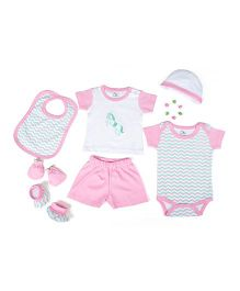 Beebop Apparel Gift Set Pack of 7 - Pink & White