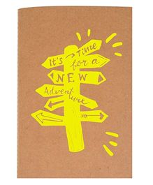The Crazy Me A6 Thread Bound Diary It's Time For A New Adventure Print - Yellow Brown