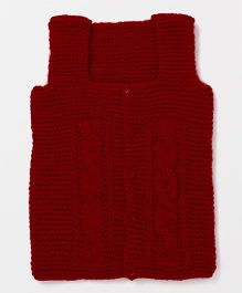 Mayra Knits Front Open Vest - Red