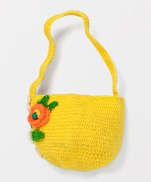 Mayra Knits Floral Design Purse - Yellow