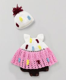 Mayra Knits Classic Frock With Cap - White & Pink