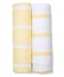 Lulujo Baby Cotton Muslin Swaddle Wrapper Stripes Print Pack of 2 - Yellow