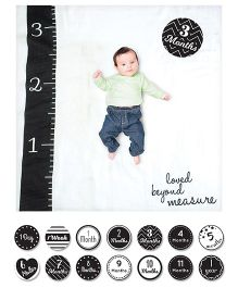 Lulujo Baby Muslin Blanket & Milestone Cards Set - White Black