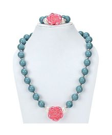 D'chica Beaded Necklace & Bracelet Set - Blue