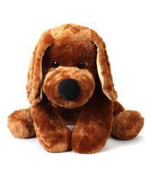 Dimpy Stuff Dog Soft Toy With Ribbon Bow Brown - Height 50 cm