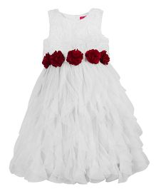 Toy Balloon Waterfall Princess Party Dress With Roses - White
