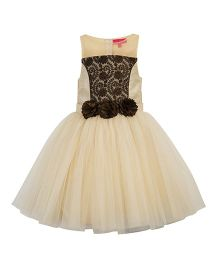 Toy Balloon Sleeveless Party Dress With Roses - Cream